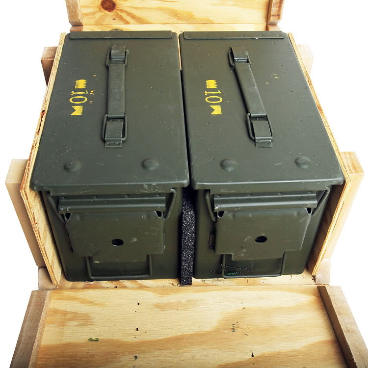 2 Pack M2a1 50cal Ammo Cans In Wood Ammo Crate Clean