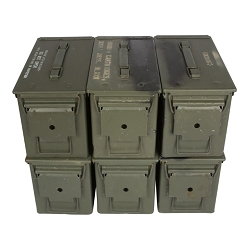 6 Pack - Grade 3 M2A1 50cal Size Ammo Cans