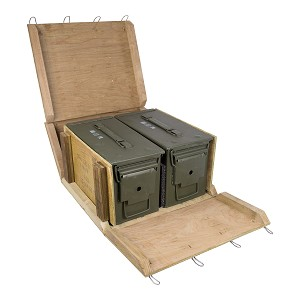 2 Pack - M2A2 50 cal Ammo Cans w/ Wood Crate