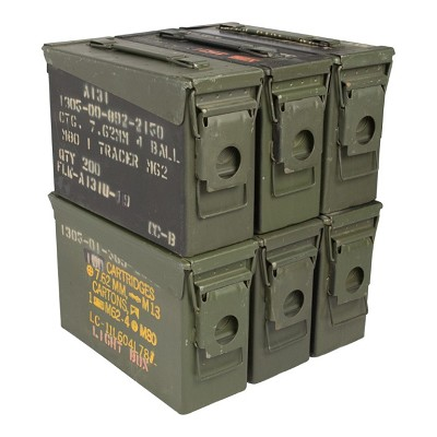 6 Pack - Grade 3 M19A1 30 cal Ammo Cans