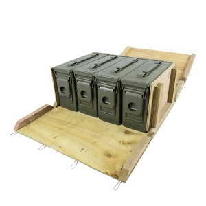 4 Pack - 30cal M19A1 Ammo Cans w/ Wood Crate